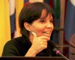 La presidenta del Banco Central, Mercedes Marcó del Pont, durante la exposición frente a la comisión de Economía Nacional e Inversión del Senado.