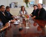 Garré en reunión con el vicegobernador Gabriel Mariotto y el senador Sergio Berni.