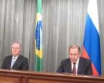 Cancilleres Lui Alberto Figuereirod (Brasil) y Serguei Lavrov (Rusia).